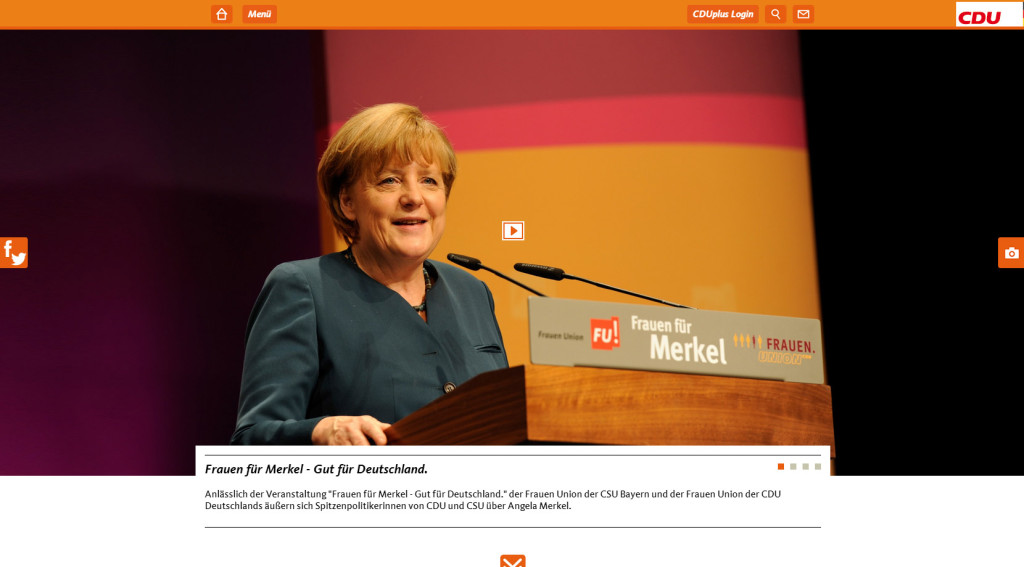 Screenshot der CDU-Website