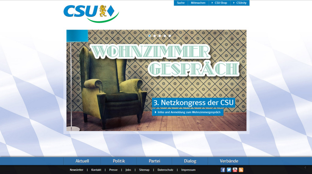 Screenshot der CSU-Website