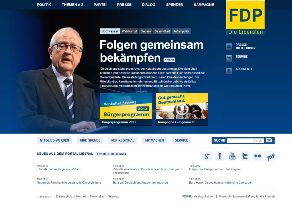 Screenshot der FDP-Website