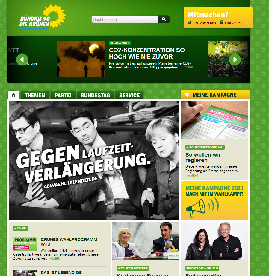 Screenshot der Grünen-Website