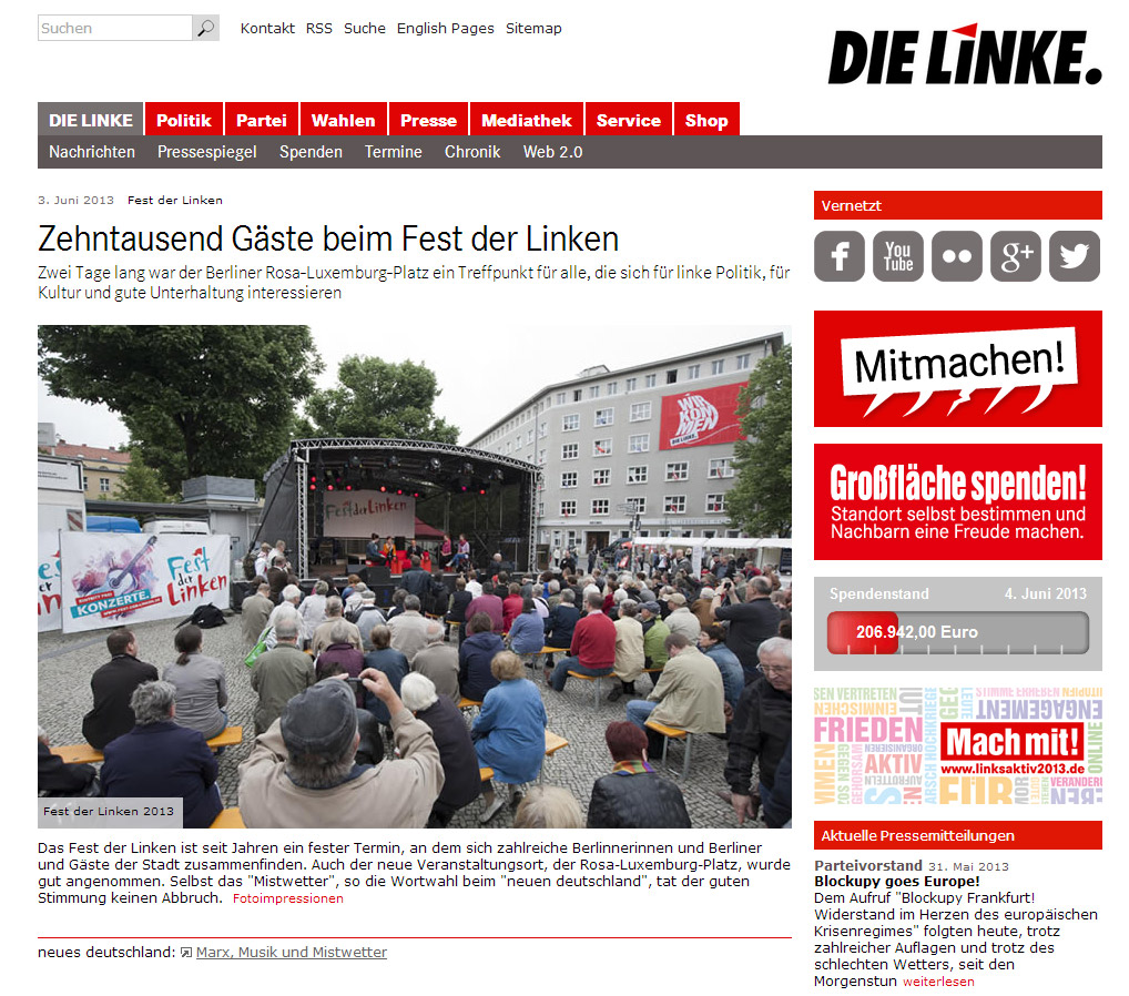 Screenshot der Website der Linken