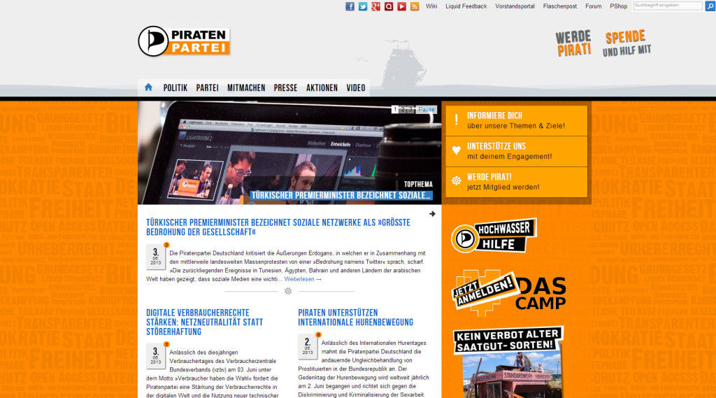 Screenshot der Piratenpartei-Website