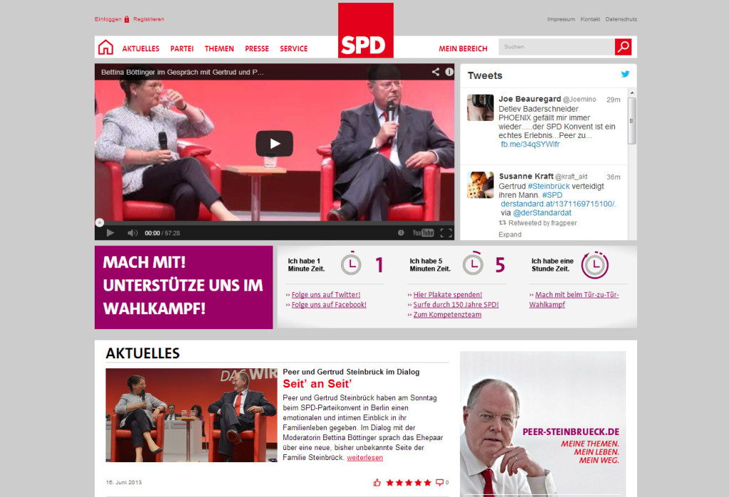 Screenshot der SPD-Website