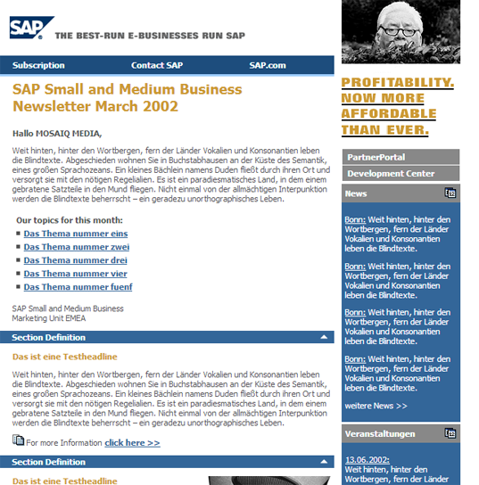 SAP Newsletter Vorlage