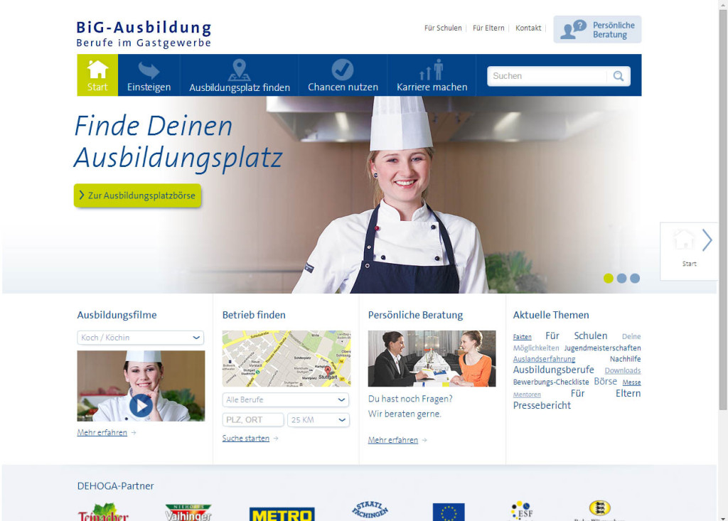 BiG-Ausbildung Website
