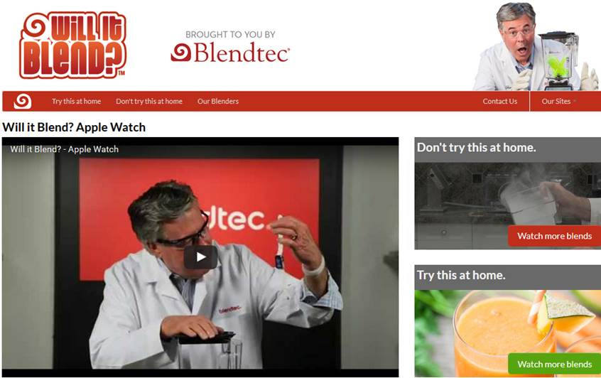 Blendtec Content Marketing (Quelle: Website Blendtec)