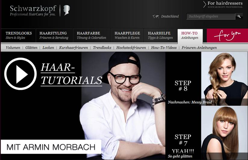 Schwarzkopf Content Marketing (Quelle: Website Schwarzkopf)