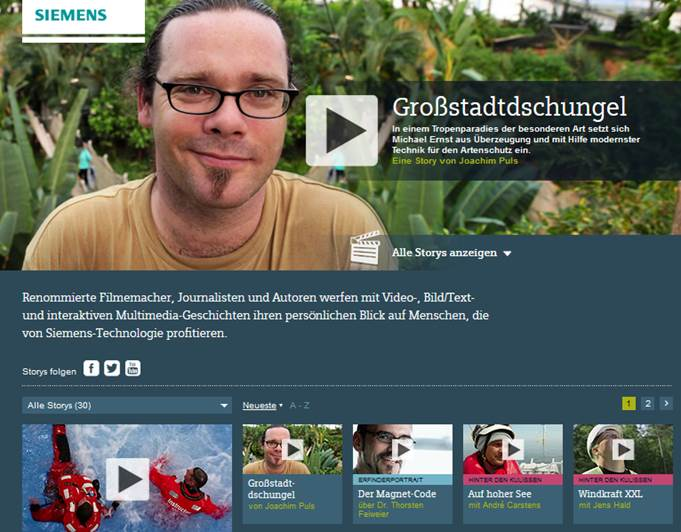Siemens Content Marketing (Quelle: Website Siemens)